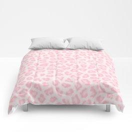 Girly blush pink white abstract animal print Comforters