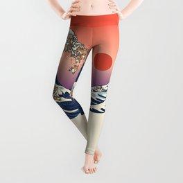 The Great Wave of Shiba Inu Leggings