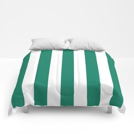 Deep green-cyan turquoise - solid color - white vertical lines pattern Comforters