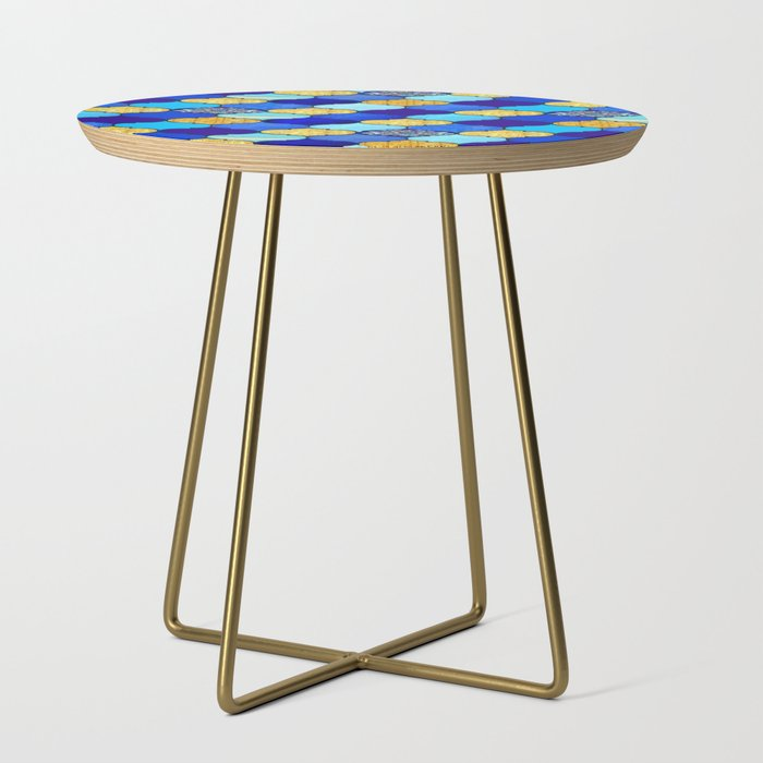 moroccan tiles in blue, aqua and gold Side Table