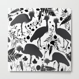 Black crowned crane with grass and flowers black silhouette Metal Print