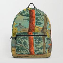 Asano Takeji Japanese Woodblock Print Vintage Mid Century Art Garden Gates Backpack