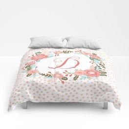 Monogram D - cute girls coral florals flower wreath, coral florals, baby girl, baby blanket Comforters