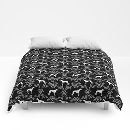 Greyhound floral silhouette black and white minimal dog silhouette dog breed pattern Comforters