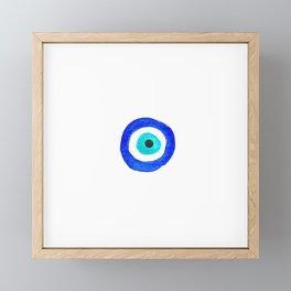 Single Evil Eye Amulet Talisman Ojo Nazar - on white Framed Mini Art Print