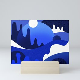 Terrazzo landscape blue night Mini Art Print