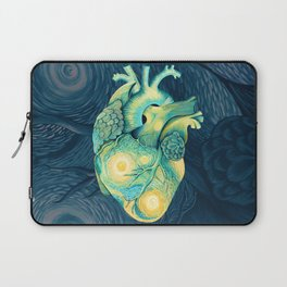 Anatomical Human Heart - Starry Night Inspired Laptop Sleeve