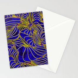 Curves in Yellow & Royal Blue Stationery Cards