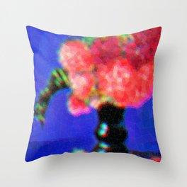 Peonies in Green Vase Throw Pillow