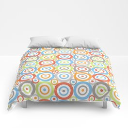 Abstract Circles Repeat Pattern Color Mix & Greys Comforters
