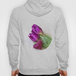 pink spring Tulips with heart Hoody