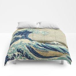Brick Wall Painting Japanese Great Wave off Kanagawa - Urban Artist Comforters