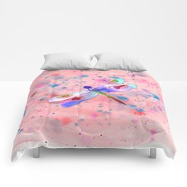 Pastel Watercolor Dragonfly Comforters