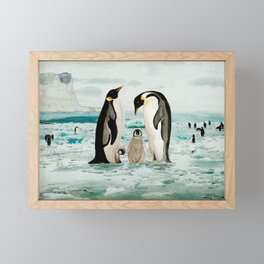 Emperor Penguin Family Framed Mini Art Print