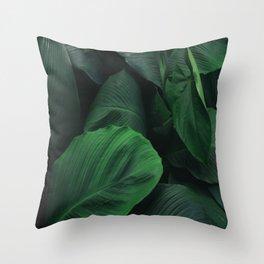 Green Nature Deep Leaves Throw Pillow