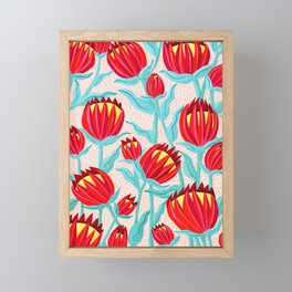 Bold Protea Flower Pattern - Red Yellow Green Framed Mini Art Print