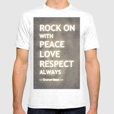 ... my life mantra ... White MEDIUM Mens Fitted Tee