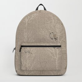 Cute Little Line Art Birds in White Trees - Taupe Backpack