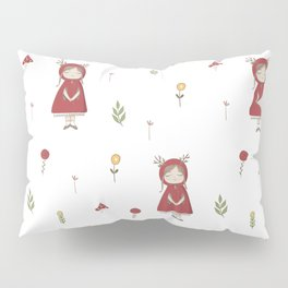 Little Red Riding Hood Girl with Antlers Pillow Sham