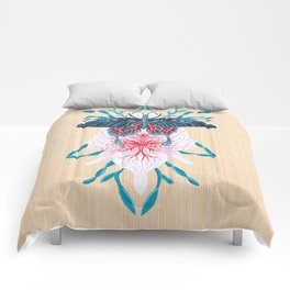 Butterfly White Orchid Tattoo on wood Comforters