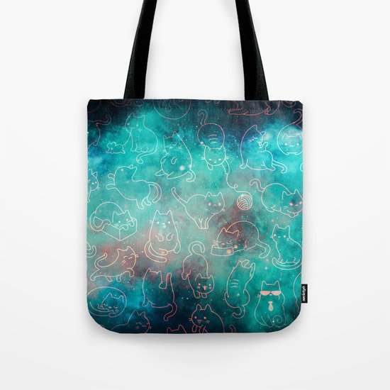 Cat Space Cats - Blue Green Galaxy Stars Pink Star Kitty Pattern Tote Bag