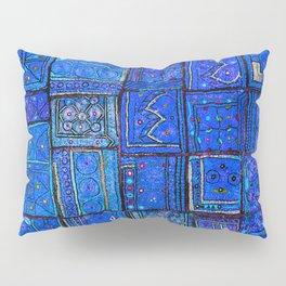 V2 Calm Blue Traditional Moroccan Cloth Texture. Pillow Sham
