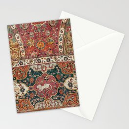 Persian Medallion Rug III // 16th Century Distressed Red Green Blue Flowery Colorful Ornate Pattern Stationery Cards