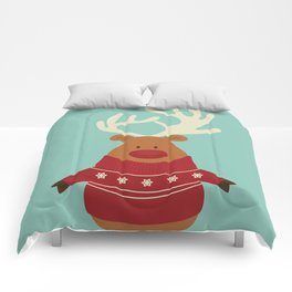 Rudolph Red Nosed Reindeer in Ugly Christmas Sweaters Comforters