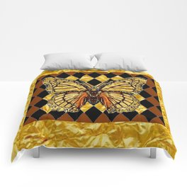 ABSTRACTED BROWN & GOLD MONARCH BUTTERFLY Comforters