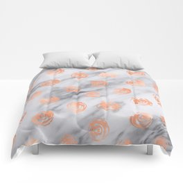 Roses Rose Gold Pink Marble Rose Pattern Comforters
