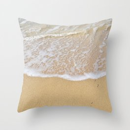 Beautiful wave surfing on a sandy beach Throw Pillow