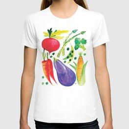 Veg Out - Vegetable, Veggies, Watercolor, Food, Beet, Carrot, Pea T-shirt