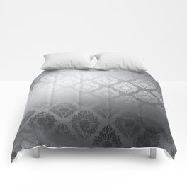 """Neutral gray Damask Pattern"" Comforters"