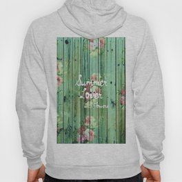 Summer Lover With Flowers | Vintage Floral pattern Teal Striped Wood Hoody