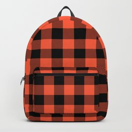 Jumbo Living Coral Color of the Year Orange and Black Buffalo Check Plaid Backpack
