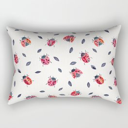 Lucky Ladybugs & Black Leaves Rectangular Pillow