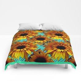 ANTIQUE GOLDEN SUNFLOWER TURQUOISE MODERN ART Comforters