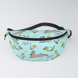 Hoppy Happy Sweet Spring Bunny Floral Design Fanny Pack