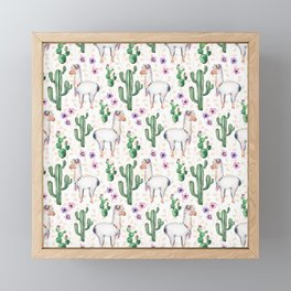 Llama Llamarama + Cactus Framed Mini Art Print