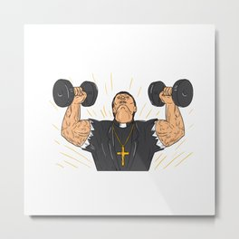 Ripped Priest Exercise Dumbbell Drawing Metal Print