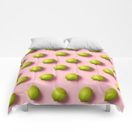 Limes pattern on pink background Comforters