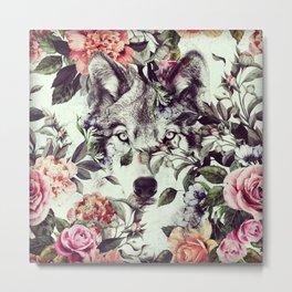 Floral Wolf Metal Print