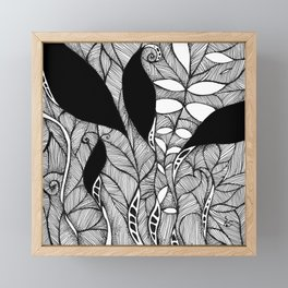 """""""Floral I"""" - Black and white nature inspired ink drawing. Framed Mini Art Print"""