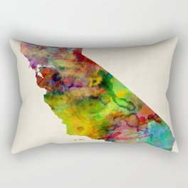 California Watercolor Map Rectangular Pillow