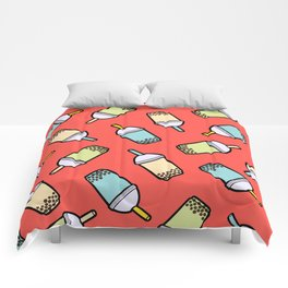 Bubble Tea Pattern in Red Comforters