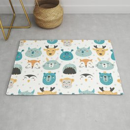 Children's print with cartoon characters-deer and monsters. Rug