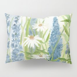 Watercolor Botanical Garden Flower Wildflower Blue Flower Garden Pillow Sham