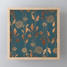 Art Deco Copper Flowers Framed Mini Art Print