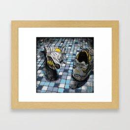 Running Shoes on a Blue Tile Floor Framed Art Print