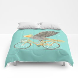 Cockatiel on a Bicycle Comforters